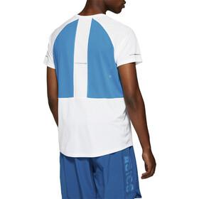 asics Maillot manches courtes zippé Homme, brilliant white/island blue